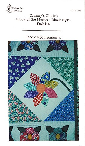 Granny's Glories Block of The Month Quilting Pattern Block Eight - Dahlia from Cactus Cat Patterns