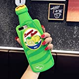 """CASESOPHY 3D Green Lemon Soda Case for iPhone 7 Plus 7+ 5.5"""" Screen Drink Bottle Soft Silicone Rubber Material Fresh Chic Fresh Unique Special Protective Cute Gift for Men Women Teens Girls"""