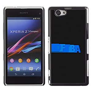 Qstar Arte & diseño plástico duro Fundas Cover Cubre Hard Case Cover para Sony Xperia Z1 Compact / Z1 Mini / D5503 ( Letters Writing Blue Random Wallpaper Black)