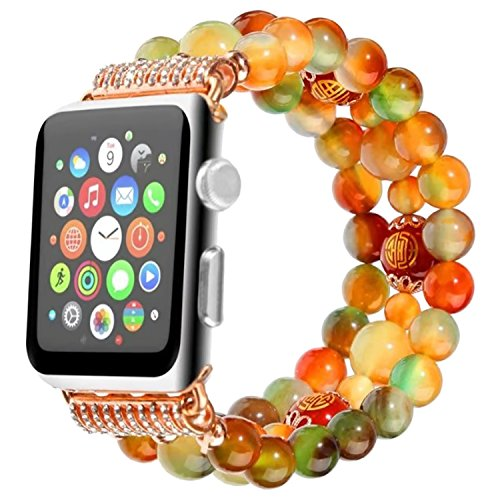 ZXK CO Beaded Band for Apple Watch Women Girls, Classy Retro Sports Agate Beaded Bracelet Stretch Elastic Wristband for Apple Watch Series 3 Series 2 Series 1, Sports & Edition 38mm