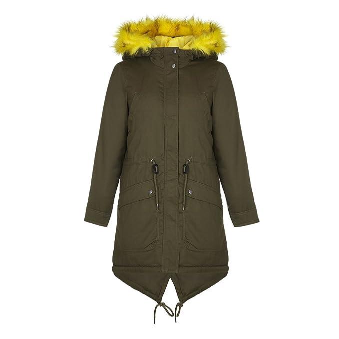 das beste Sonderkauf neue Sachen VERO MODA - VMALESSIA Women's Khaki Winter Parka with Yellow ...