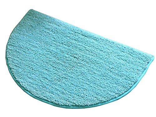 ZebraSmile 19.5 X 31.5IN Semicircle Bath Room Rug Home Entrance Doorway Mat Living Room Door Mat Entry Doormat Entryway Half Moon Door Carpet for Bedroom Indoor Halfmoon Mat Non Slip Back, Blue