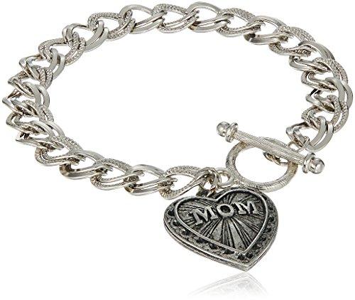 1928 Jewelry Mother's Day Items Silvertone Mom Heart Charm Bracelet, (Best 1928 Jewelry Charm Bracelets)