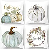 PSDWETS Autumn Decorations Pumpkin Pillow Covers Set of 4 Fall Decor Cotton Linen Grateful Thanksgiving Throw Pillow Covers Cushion Cover 18 X 18