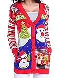 Image of V28 Women Girl Ugly Christmas Santa Pocket Knit Sweater Jumper Long Cardigan (Large, ModelB)