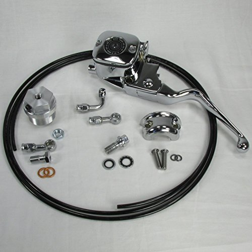 Machinist Mike Hydro Clutch - Hydraulic Clutch 71-76 Harley Davidson Ironhead - High Pressure Line CHROME Banjo Bolts, Fittings and Clutch Master Cylinder - Motorcycle Chopper Bobber ()