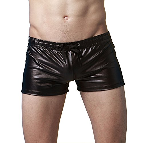 Colors of Rainbow Rainbow25 Patent Leather Swimming Trunks Beach Boxer Shorts Mens Swimwear with Drawstring size S (Black) ()