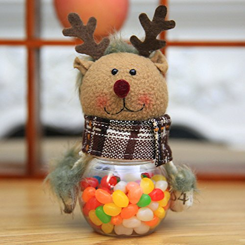 LtrottedJ Santa Claus Snowman Elk Christmas Candy Packaging Christmas Candy Jar ()