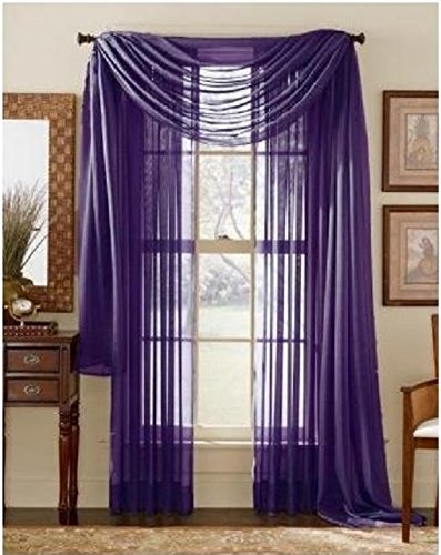 LuxuryDiscounts 2 Piece Solid Purple Elegant Sheer Curtains Fully Stitched Panels Window Treatment Drape