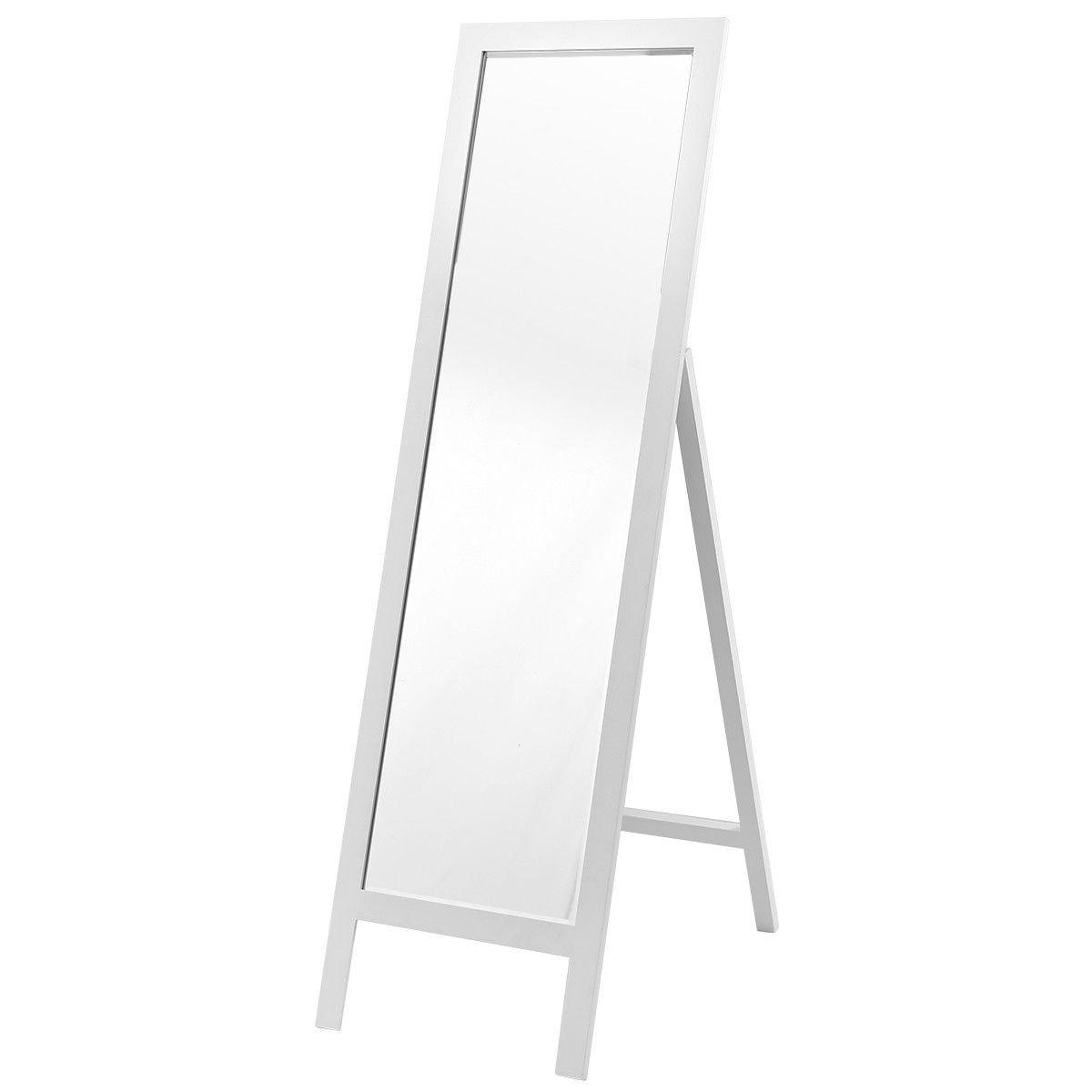 AyaMastro 55.5'' White Full Length Dressing Mirror Floor Standing Bedroom w/Wooden Frame
