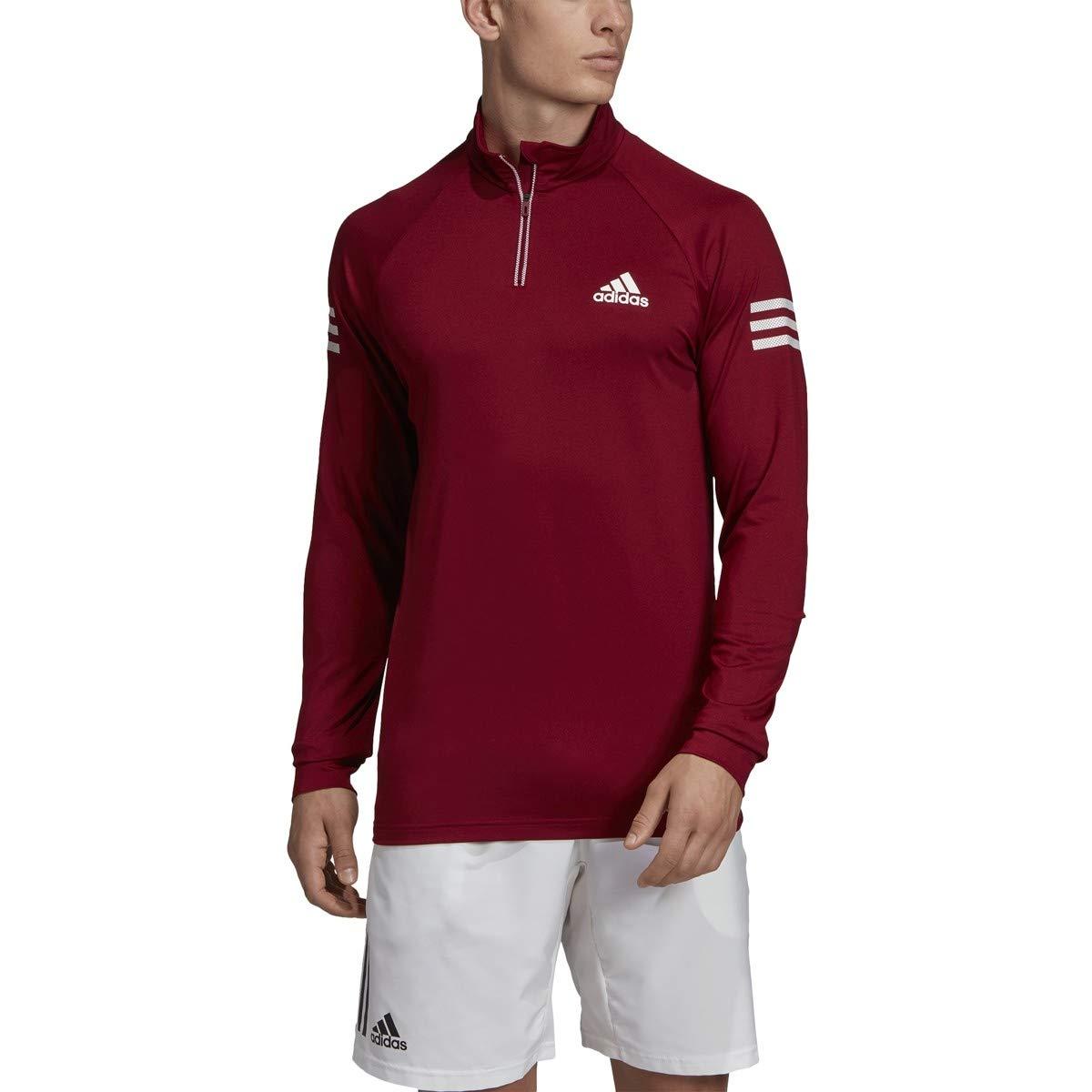 adidas Club Midlayer Tennis Sweatshirt, Collegiate Burgundy/Hi-Res Coral, Small