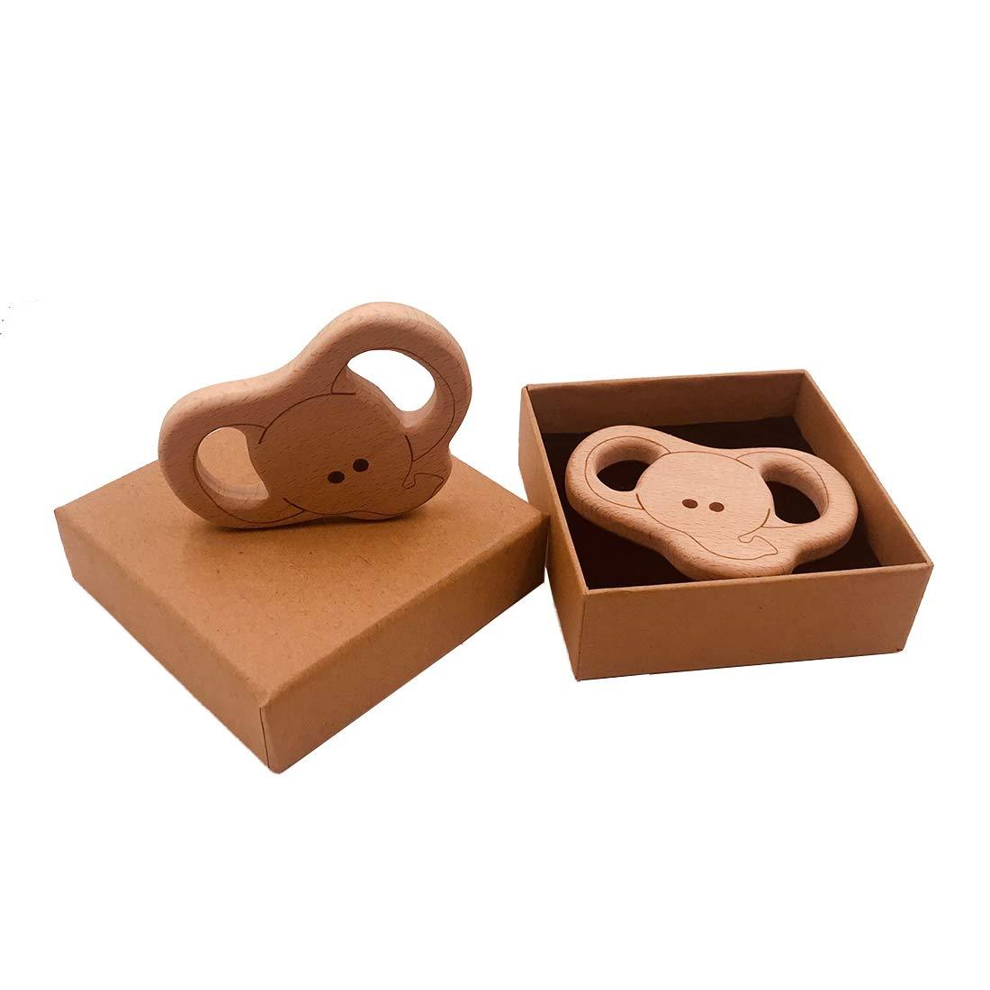 12pcs Coskiss 12pcs DIY Haya Animal Mordedor de madera personalizable beb/é Mordedor dentici/ón collar libre de BPA de grado alimenticio Mordedor colgantes