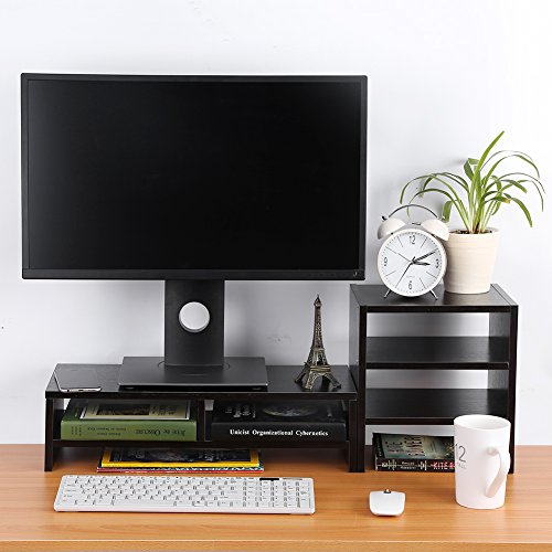 Riser Drawer (Computer Monitor Stand Riser with Drawers,Laptop TV Stand Desktop Wooden Storage Organizer Sit Monitor Risers + 3-Layer Shelf for Home Office,Black)