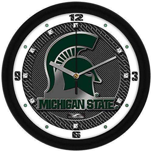 (SunTime NCAA Michigan State Spartans Textured Carbon Fiber Wall Clock)
