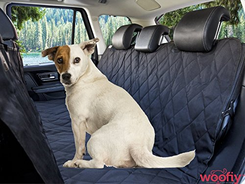 Woofiy The Original By Car Seat Cover For Pets, Dogs And Cats - Best Backseat Rear Hammock Style Padded Bench Protector for Cars Trucks and Vans - Waterproof, Black, ()