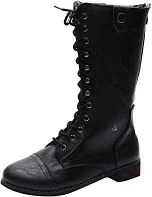 Womens Retro Knee-High Boots Lace Up Tound Toe Outdoor Motorcycle Punk Shoes