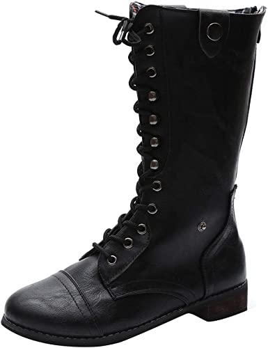 Fheaven Womens Casual Knee High Mid Calf Boots Military Combat Boots Shoes Western Cowboy Side Zippper Fall Winter Boots