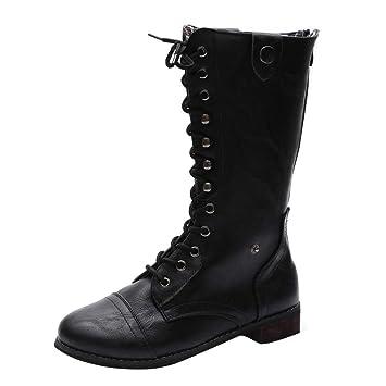 LuckyGirls Botas Muslo de Caña Alta para Mujer Slim Zapatos Botitas con Cordones Botines con Cierre: Amazon.es: Deportes y aire libre