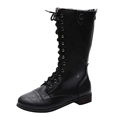 f29810063403d Amazon.com   Women Mid Calf Boots Vintage Punk Gothic Military ...