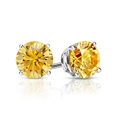 d09f881a1 Amazon.com: 3.00 ct Round Brilliant Cut Canary Yellow Diamond Stud Earrings  in 14k 585 White Gold Brilliant Cut Basket Screw Back: Jewelry