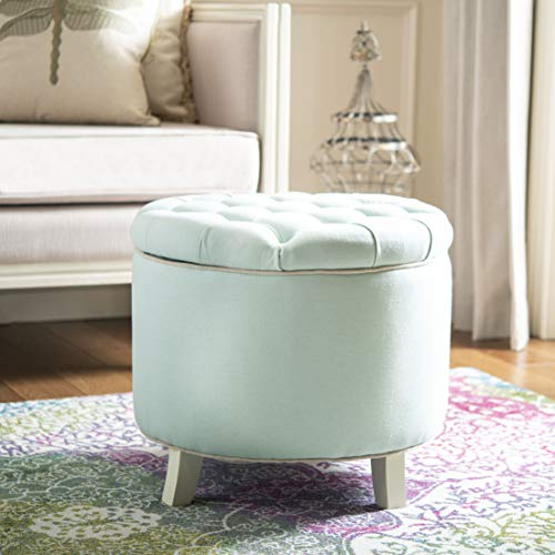 Safavieh Hudson Collection Irwin Round Storage Ottoman, Robin s Egg Blue