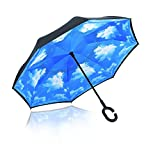 Reverse Folding Umbrella-Windproof & UV Protection - Inverted Umbrella with Free Carrying Bag , Sky Blue