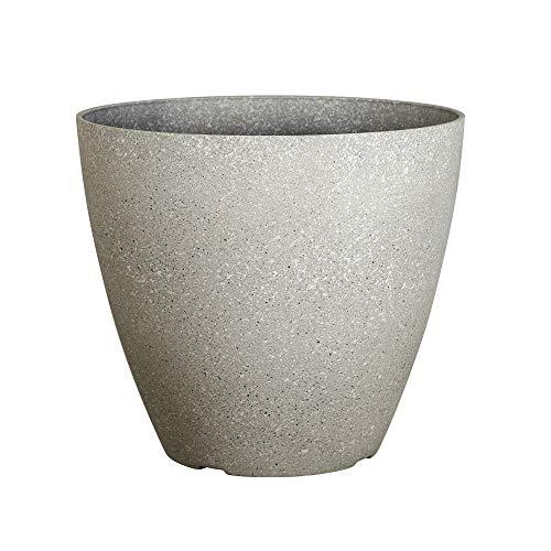 (FANTASTIC :) 15-INCH Sand Brunsh Shape Finish Decorative Plastic Planters Thin Flower Pots (1-Pack, Stone-Cool Grey))