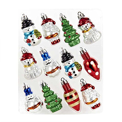 Kurt Adler Plastic Ornament, 2-Inch, Set of 12