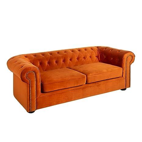 Sofá Chester tapizado de Terciopelo Naranja de 3 plazas ...