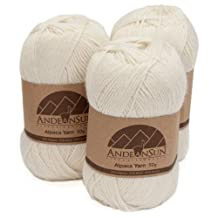 Alpaca Yarn Blend FINGERING Weight Skeins - SET OF 3 SKEINS (Ivory) - 654 Yards Total / 150 Grams - 5.28 Ounces Total - Perfect for crocheting & knitting - IVORY