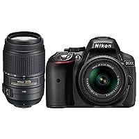 Cámara digital réflex Nikon D5300 con lente 18-55mm y 55-300mm VR, color Negro