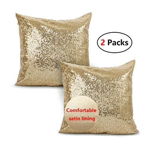 iMucci Sparkling Taffeta Sequins 18 inch Satin Pillow Covers - Pillowcases Bling Paillette New Year Hidden Zipper Gold