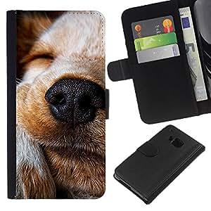 EJOY---La carpeta del tirón la caja de cuero de alta calidad de la PU Caso protector / HTC One M7 / --Perro Terrier Jack Russell Labrador Retriever