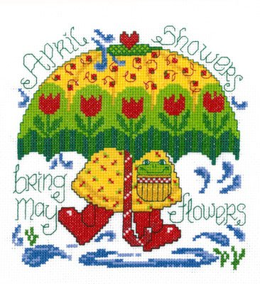 Spring Showers Cross Stitch Chart and Free Embellishment