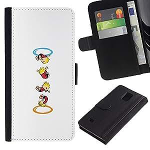 LECELL--Cuero de la tarjeta la carpeta del tirón Smartphone Slots Protección Holder For Samsung Galaxy Note 4 IV -- Calvin Hobbs Portal --
