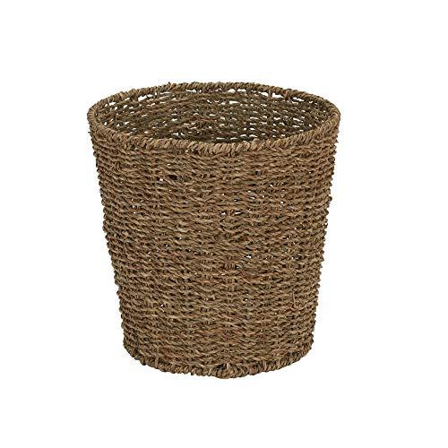 MISC Small Brown Natural Wicker Waste Basket Seagrass Wastebasket Round Trash Can Sturdy Bathroom Bin Bedroom
