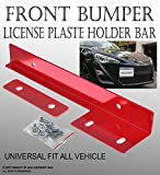 ICBEAMER Aluminum Bumper Front License Plate Mount Relocate Universal Bracket Fit All Vehicle [Color: Red] Pack of 1