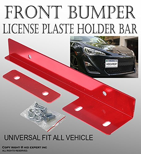 (ICBEAMER Aluminum Bumper Front License Plate Mount Relocate Universal Bracket Fit All Vehicle [Color: Red] Pack of 1)