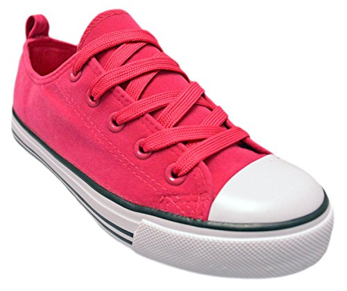 Girls Canvas Sneakers - Classic Lace-Up Tennis Shoes, Toddler & Little Kid (4 Kids, Fushia