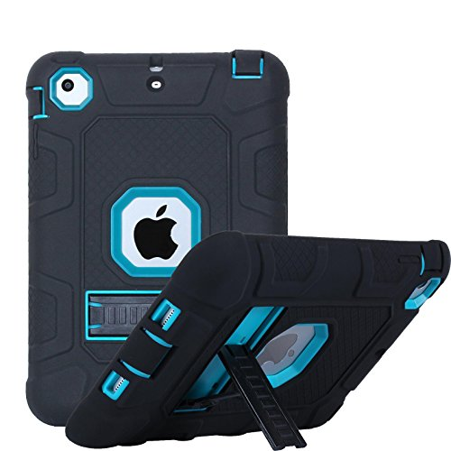 iPad mini 1/2/3 Case, Firefish 3 in 1 Hybrid Heavy Duty Shockproof Protective Cover Hard PC Rugged Soft Silicone Bumper Dual Layer Case for Apple iPad mini 1/2/3 - Black Blue