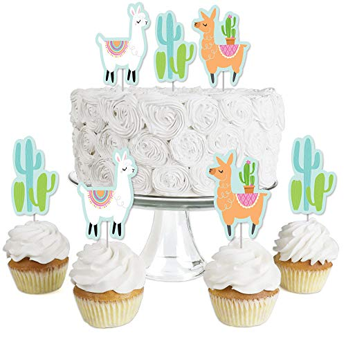 Whole Llama Fun - Dessert Cupcake Toppers - Llama Fiesta Baby Shower or Birthday Party Clear Treat Picks - Set of -