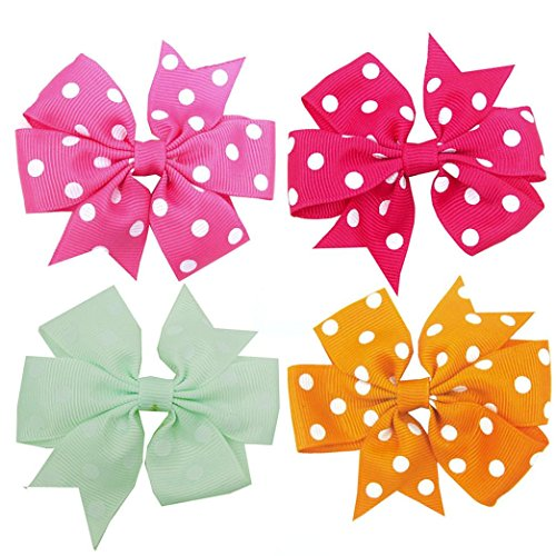 Iuhan 4PCS/Set Hair Clips Girls Dot Bow Hair Buckle Bowknot Hairpin Headdress (Dot Buckle)