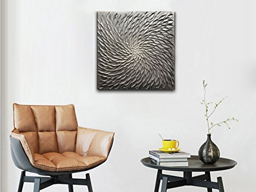 Amei Art Paintings, 32X32 Inch Paintings Oil Hand Painting 3D Hand-Painted On Canvas Abstract Artwork Art Wood Inside Framed Hanging Wall Decoration Abstract Painting (Gray) by Amei (Image #5)