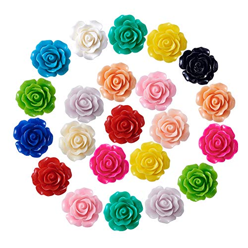 Kissitty 138pcs/box 15 Colors Opaque Resin Flower Flatback Cabochons 20x9mm Scrapbook Embellishment for DIY Craft Making