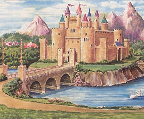 Fairy Tales Castle Horse Drawn Carriage Cartoon Wallpaper Border Retro Design, Roll 15' x 12