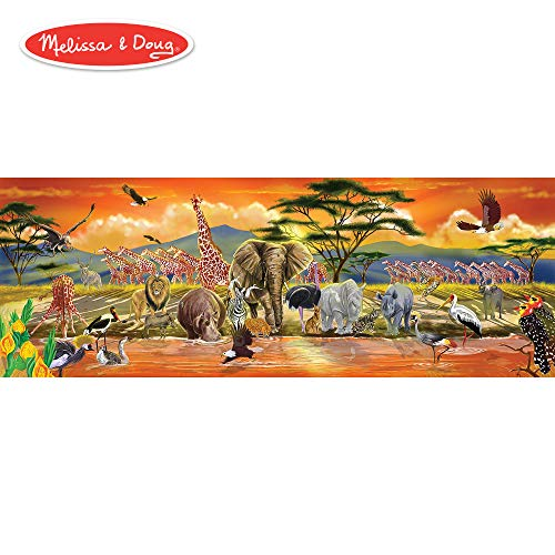 Melissa & Doug African Plains Safari Jumbo Jigsaw Floor Puzzle (Preschool, 100Piece, Over 4' -