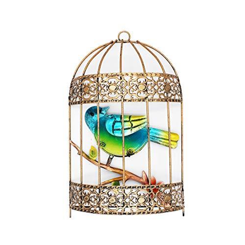 VOTENVO Galvanized Colorful Art Birdcage Wall Décor Metal Bird Cage Wall Art Plaque Metal Iron Decorative Painting (Blue Bird)