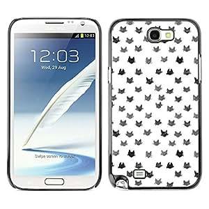 For SAMSUNG Galaxy Note 2 II / N7100 Case , Pattern Cats White Grey Cute Cat - Diseño Patrón Teléfono Caso Cubierta Case Bumper Duro Protección Case Cover Funda