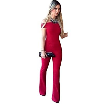3bed4cc43cc Aro Lora Women s Off-Shoulder Bodycon Long Pants Slim Party Club Jumpsuits  Rompers