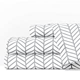 Egyptian Luxury 1600 Series Hotel Collection Herringbone Pattern Bed Sheet Set - Deep Pockets, Wrinkle and Fade Resistant, Hypoallergenic Sheet and Pillowcase Set - Cal King - White/Light Gray